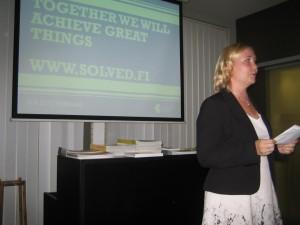reč Chargé dAffaires Henna Knuuttila pred oficiálnym otvorením Solved service (Cleantech) na Slovensku