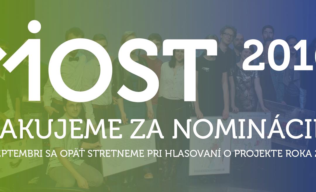 Bez kategórieĎakujeme za nominácie na Most 2016!