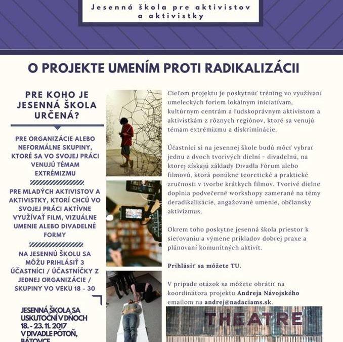 """PonukyProjekt – """"Umením proti radikalizácii– jesenná škola pre aktivistov a aktivistky"""""""